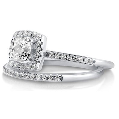 berricle cushion cut cz - Cubic Zirconia Wedding Rings That Look Real