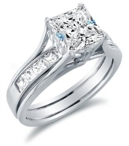 cz bridal sets in sterling silver gold platinum - Cubic Zirconia Wedding Rings That Look Real