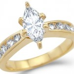 14k Yellow Gold Solitaire Marquise Cut CZ  Ring