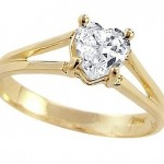 Heart Solitaire Engagement Ring 14k Yellow Gold