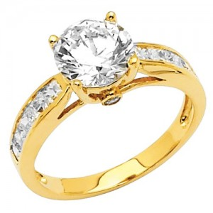 High Polish 14K Yellow Gold Solitaire CZ Engagement Ring
