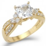 14k Yellow Gold Princess Cut CZ  Engagement  Ring 1.5 ct