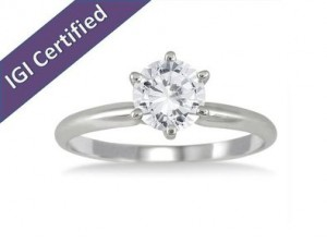 14K White Gold 1 Carat Diamond Solitaire
