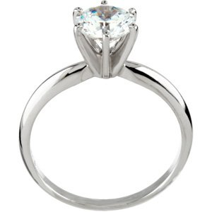 moissanite 1 carat solitaire 14k white gold - Fake Wedding Rings That Look Real