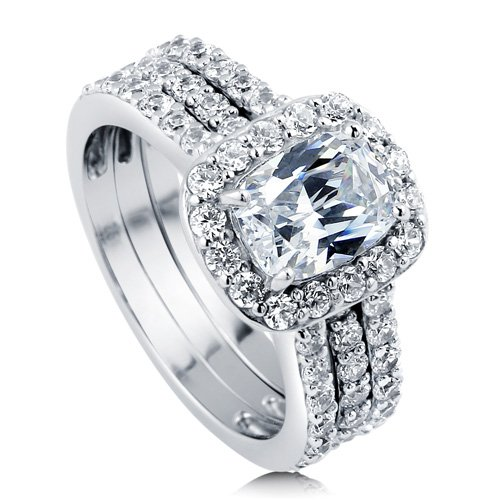 Fake Diamond Sterling Silver Bridal Sets With CZ
