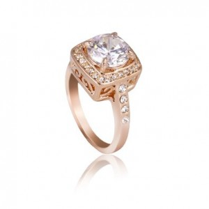 18k Rose Gold Plated Use Austrian Crystal Engagement Spark Ring