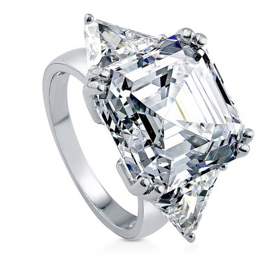 berricle asscher 1616 ct cz 3 stone engagement ring - Cubic Zirconia Wedding Rings That Look Real