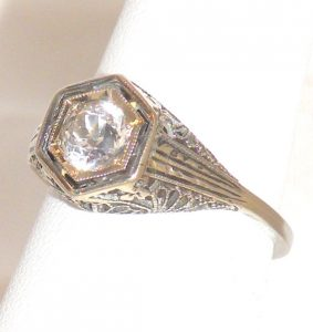 Antique White Spinel Ring
