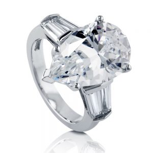 berricle sterling silver 78 cttw pear cubic zirconia cz solitaire - Cubic Zirconia Wedding Rings That Look Real