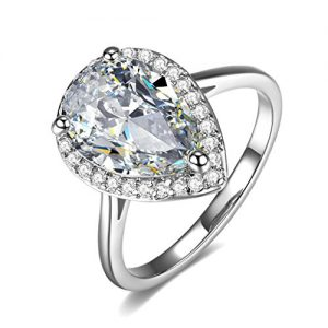 UMODE Jewelry Halo 4 Carat Teardrop Pear Cut Cubic Zirconia CZ Engagement