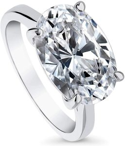 BERRICLE-Rhodium-Plated-Sterling-Silver-Oval-Cut-CZ-Solitaire-Engagement-Ring