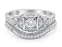 Simulated Diamond Art Deco Engagement Ring