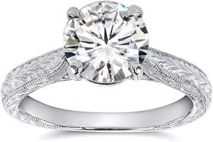 Antique Style Moissanite Engagement Ring