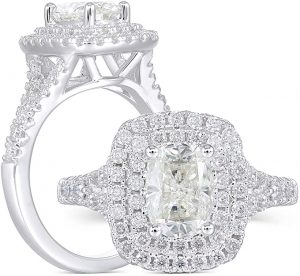 Sterling Silver Cushion Cut Moissanite Halo Engagement Ring