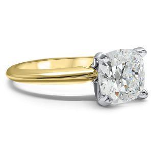 Moissanite Solitaire Cushion Cut Engagement Ring 14k Yellow Gold